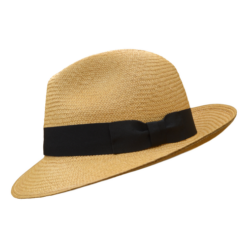 NEW Cinnamon Snap Brim Trilby panama hat - Cuenca 3/5 / Black band