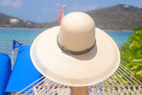 Ladies Open Brim Panama - shown with horsehair band