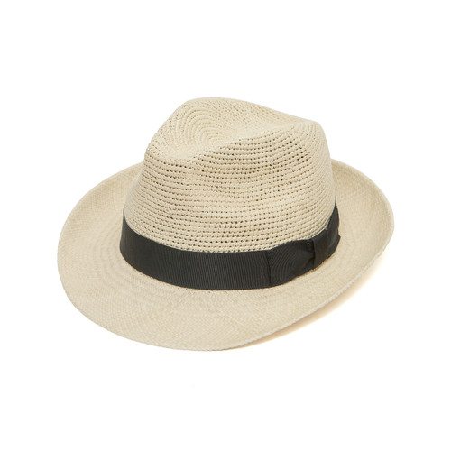 Crochet Crown Trilby - shown in Ivory, with black band
