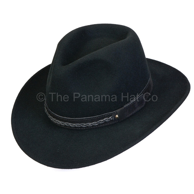 Felt Outback with leather band - shown in black