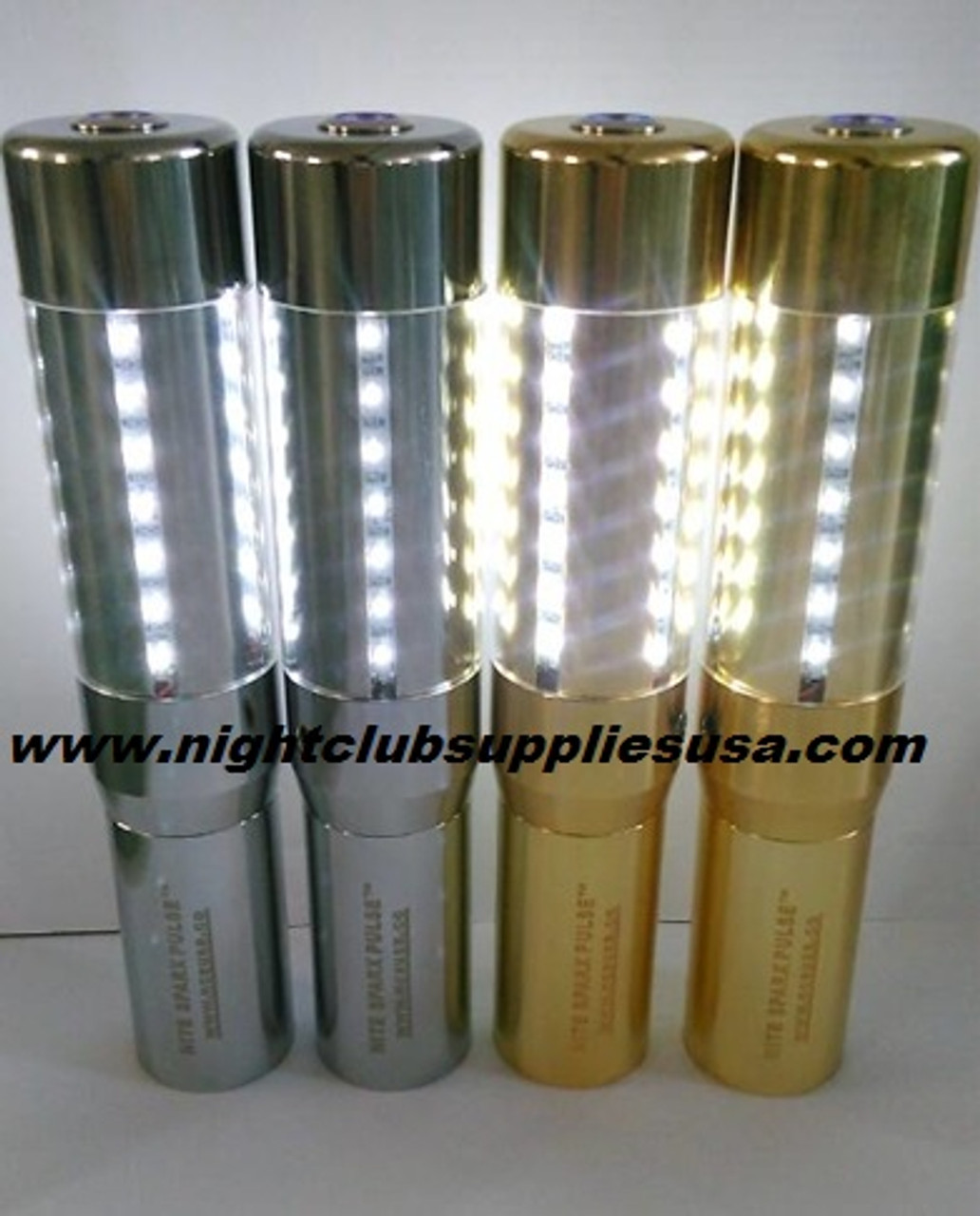 LED STROBE BATON BOTTLE TOPPER POLISHED GOLD CASE(NITE SPARX PULSE™)