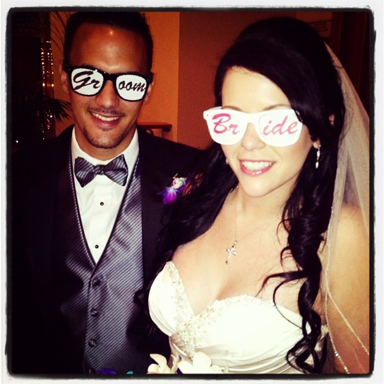Printed sunglasses for bride and groom