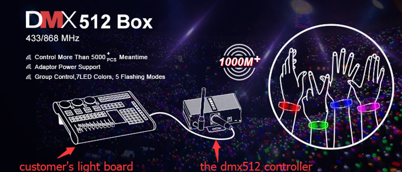 DMX control Activated Wristbands with logo 512 controller
