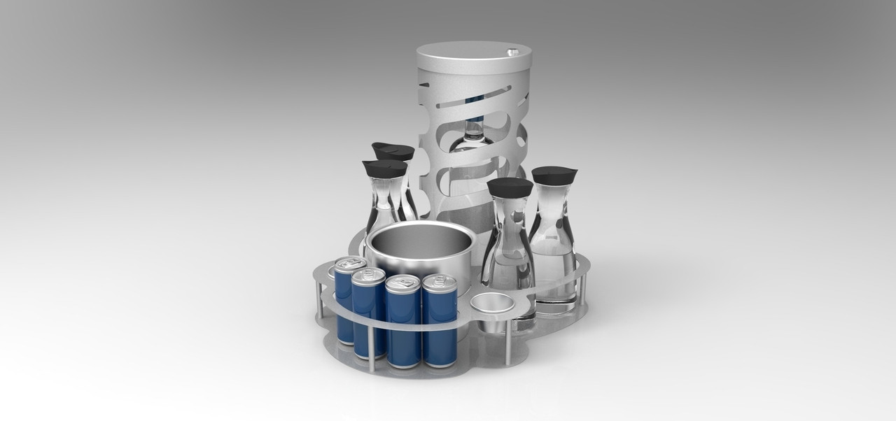 Bottle Serving Tray with cage