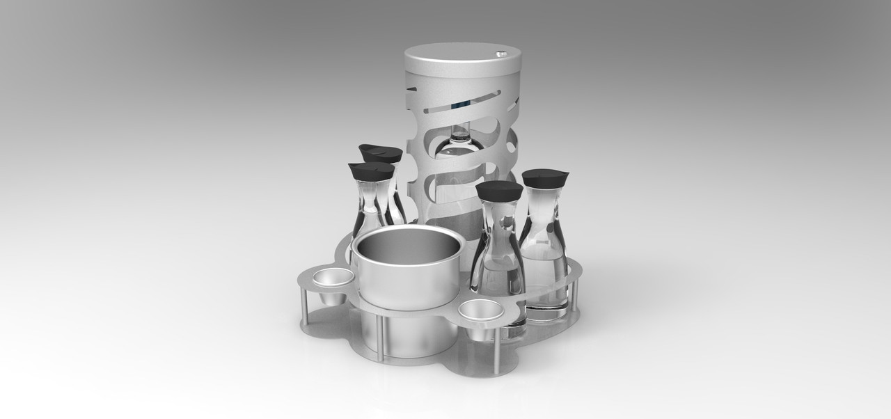 BOTTLE SERVICE TRAY WITH  CAGE