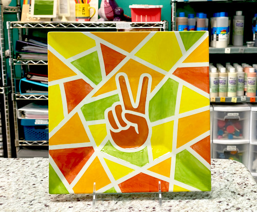 Example of finished Mosaic Plate using Peace Sign sticker