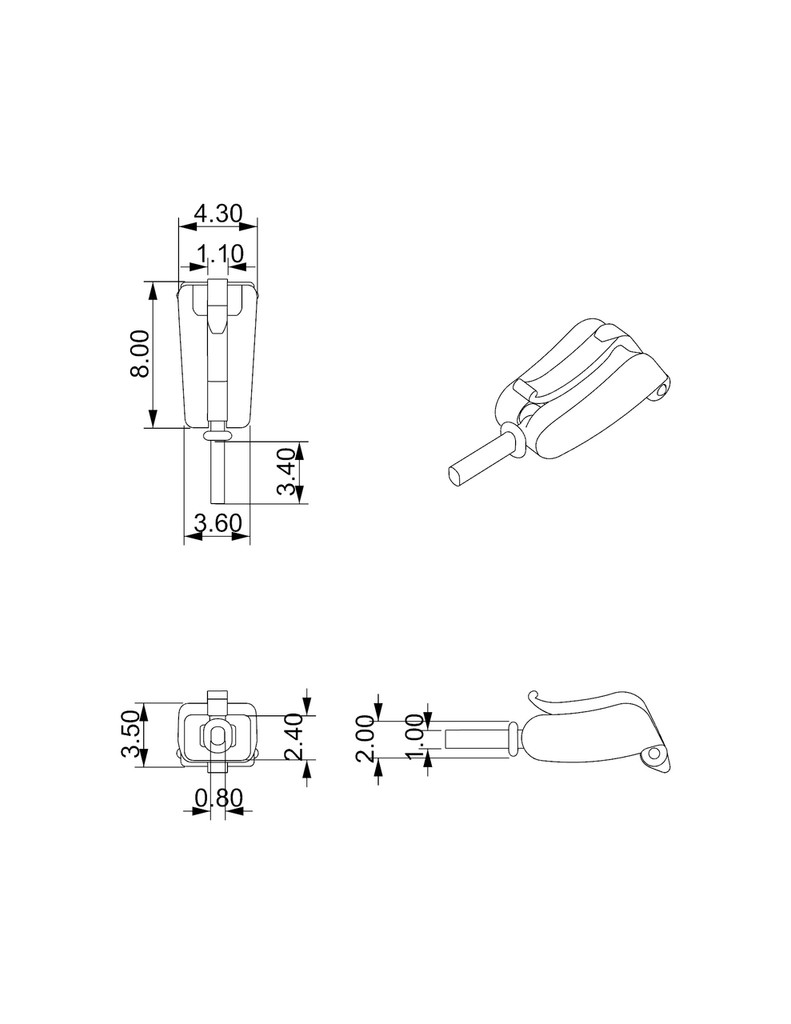 lever removable clasp dimensions