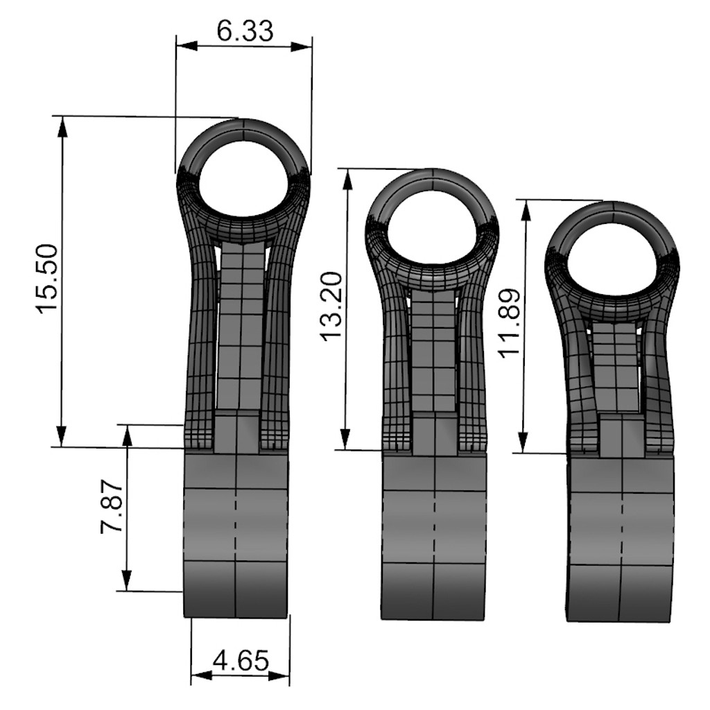 dimensions for reverse ear clip in 3 sizes