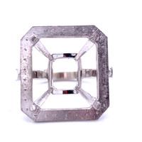 9414 - Hand made platinum Emerald Cut halo and diamond shank