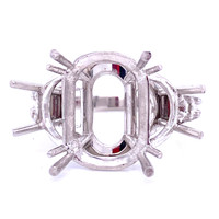 9419 - platinum mounting for Cabochon with half moon side stones