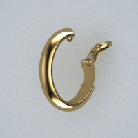 reverse ear clip installed on a hoop earring in the open position