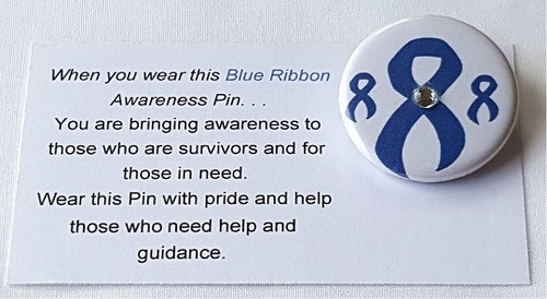 Use our Blue Awareness Ribbon Button to represent Child Abuse, Colon Cancer, Education, Huntington's Disease, ARDS. This button is perfect for charity events, clinics, team building, fashion shows,or a personal thank you for donating to such a worthy cause.