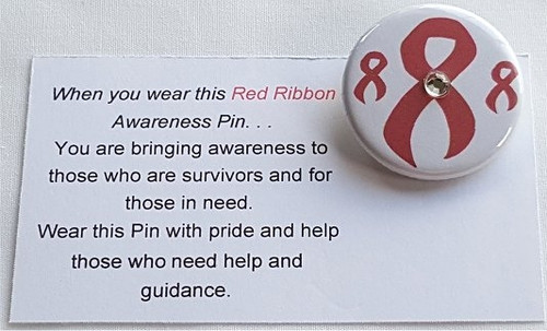 Button Red Awareness Ribbon with Jewel
