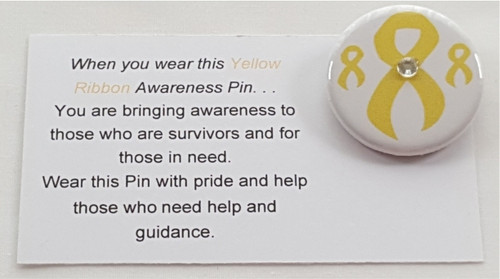 A Yellow Ribbon Awareness Button is perfect in representing Adoptive Parents, Endometriosis, Equality, Support The Troops, Bladder Cancer and Amber Alert for charity events, clinics, team building, fashion shows,or a personal thank you for donating to such a worthy cause.