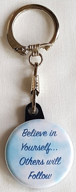Use our Believe in Yourself Key Chain for your own personal use or for a donation thank you - team member selling tool - your web store.