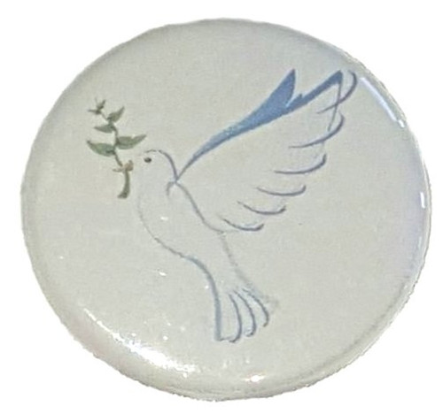 "Dove Funeral Button measures 1.25"" and design is printed in blue on light grey paper.  Add our computer printed card for that elegant keepsake of your dearly departed.  In Remembrance ""business size"" Printed card included with each pin."