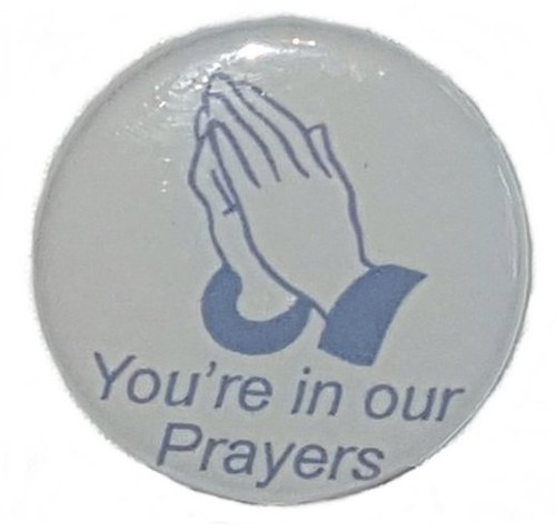 "Funeral Prayer Hands Button measures 1.25"" and design is printed in blue on light grey paper.  Add our computer printed card for that elegant keepsake of your dearly departed.  In Remembrance ""business size"" Printed card included with each pin."