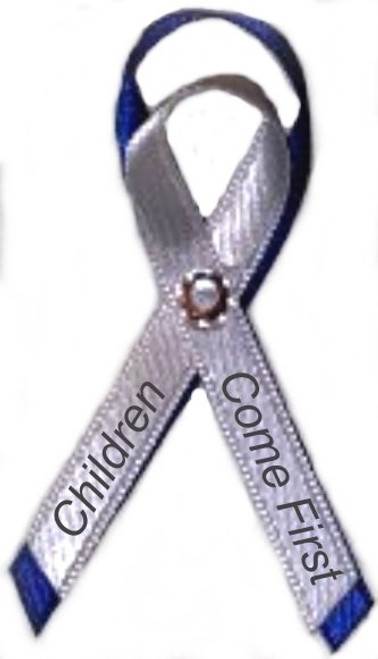 Use our elegant navy and white awareness ribbon pin for galas, foundations, organizations, service, donation thank yous, etc.