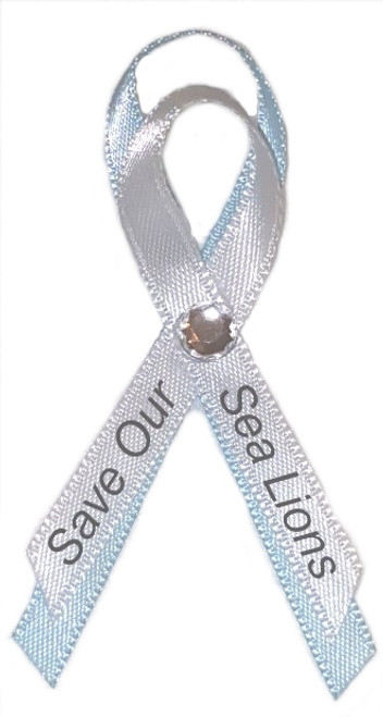 Save Our Sea Lions Awareness Ribbon Pin perfect for any zoo benefit, charity, animal rights foundation, fundraiser idea, thank you donation pin.