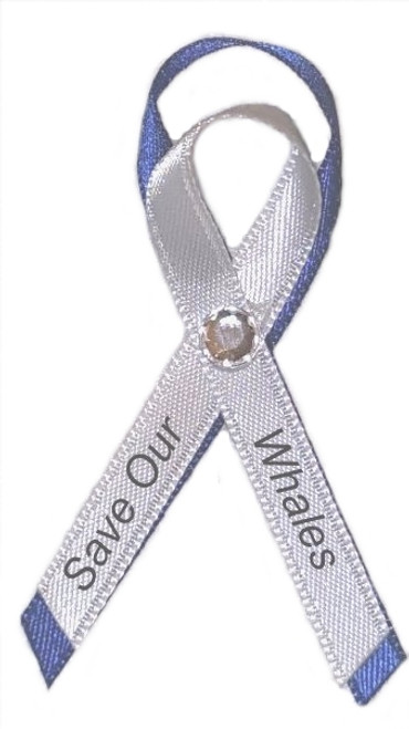 Use our Save our whales awareness ribbon pin at your next charity/benefit, fund raising event, animal rights convention, aquarium stores, donation thank you.