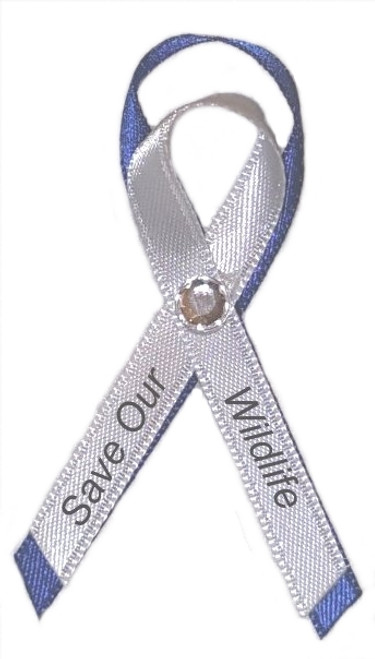 Save our wildlife awareness ribbon pins are used for charity,benefit events, aquarium and zoo events and gift shops, or as a donation thank you.
