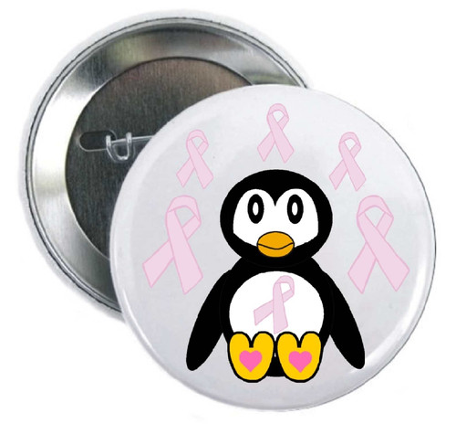 """Pink Ribbon Penguin Cancer Awareness Pin for foundations, cancer clinics, aquariums, zoos, organizations, charity benefits, or as a  personal thank you for a donation.  Great for getting your """"cause"""" out into the public."""