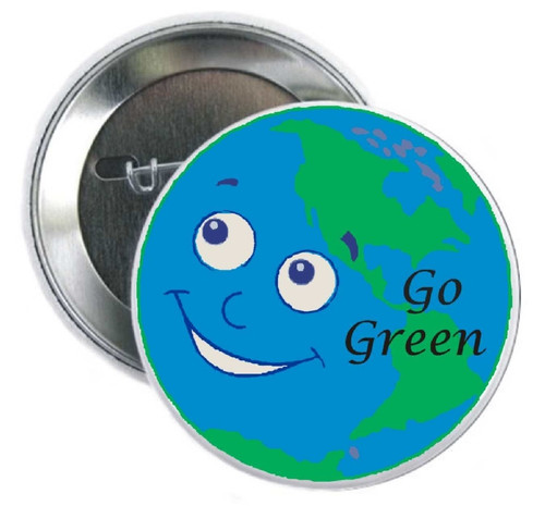 """Go Green button shows the world that your organization cares about the world we live in. This Button is perfect for Earth Day, foundations, environmental organizations, marathons, personal thank you.  Great for getting your """"cause"""" out to the public's awareness."""