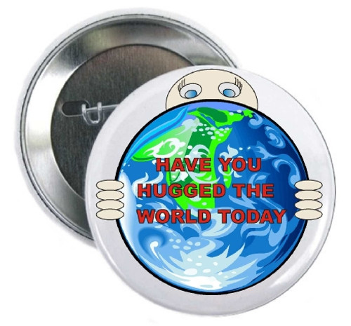 Earth Day buttons to hug the world. Perfect for foundations, environmental organizations, marathons, personal thank you for a donation.