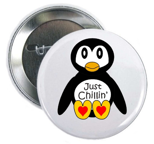Penguins-Just Chilling Button hanging out at the zoo/aquarium gift shops asking for a donation to help save us. Penguin foundations would love me!