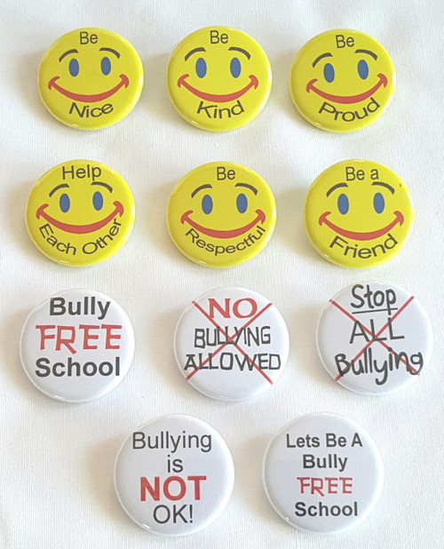 "Click Here to order Pins Let's start our children off early believing that bullying is not okay.  Our 1.25"" buttons can be used for Positive Reinforcement - School Rallies - Rewards for Good Behavior.  Our 1.25""  Anti-Bullying Buttons are can be used by school administration, principals, superintendents, teachers, PTA members and Room Parents to hand out."