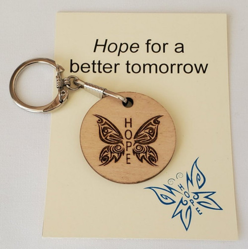 Hope for a better tomorrow wooden laser key chain with card