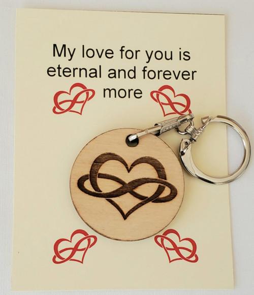 Custom made Eternal Love wooden laser engraved key chain