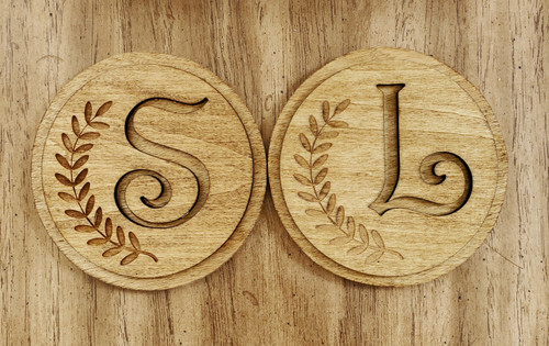 Personalized wooden laser engraved letter coaster.  Choose you letter for each coaster.   Comes as a set of 2 or 4