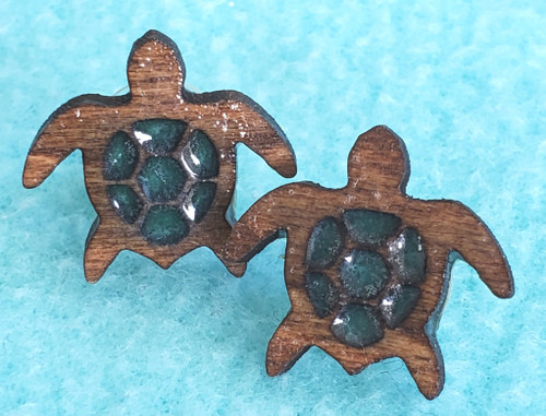 Turtle stud wood earrings