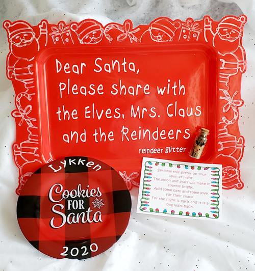 """""""Dear Santa"""" tray and reindeer glitter. White around tray is hand painted to give that distressed look and sealed, with vinyl letter words. (*Plate not included with tray)"""