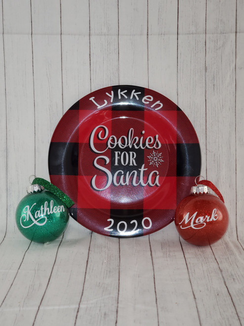 Personalized with Name and 2020 on Plate and Ornament. Chose red or green glitter ornament