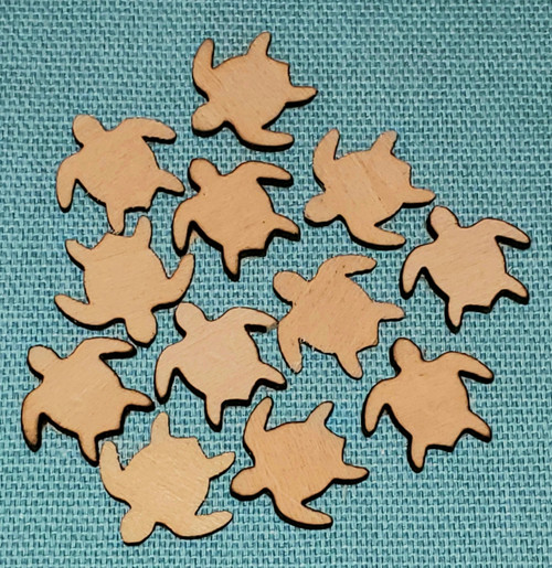 Small lasered wooden turtles