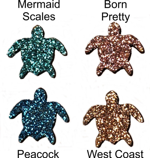 Small glittered wooden turtles
