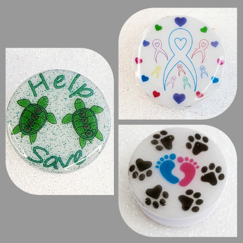 Help Save the Turtles, Paw prints with people feet or awareness ribbons added to the top of our phone grips makes the perfect phone holder