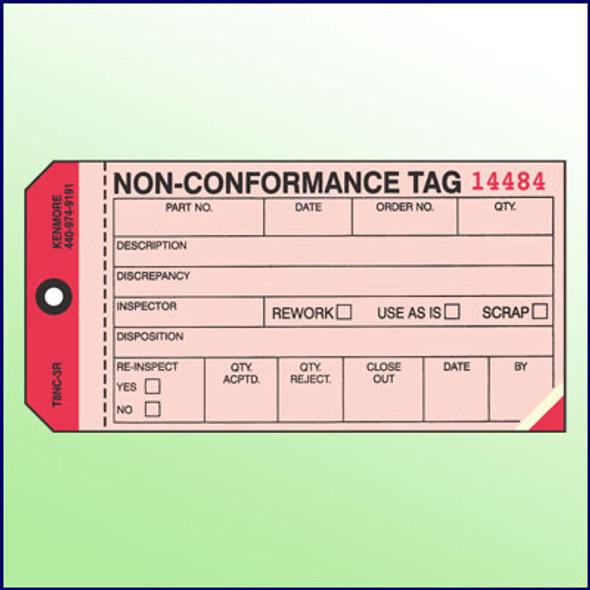 Non-Conformance Tag  3 Part