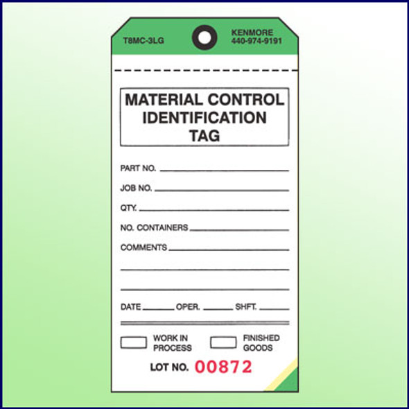 Material Control Identification Tag - 3 Part