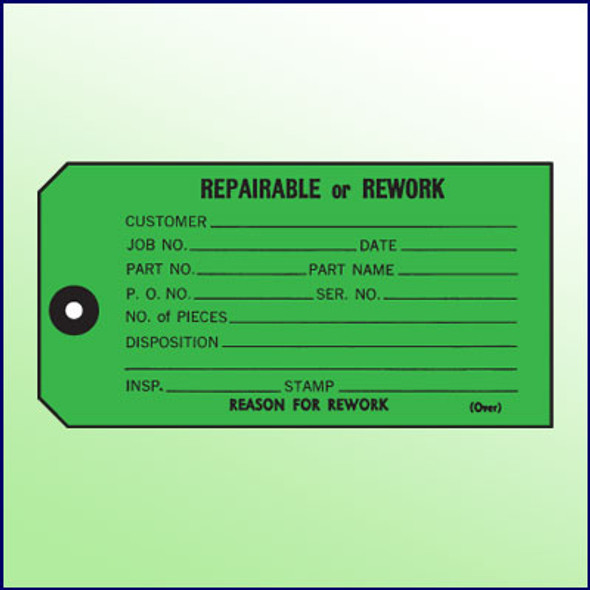 Repairable or Rework Inspection Tag - 1 part, Size 5