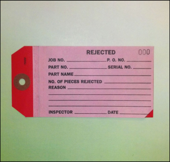 2-Part Rejected Inspection Tag 500-999