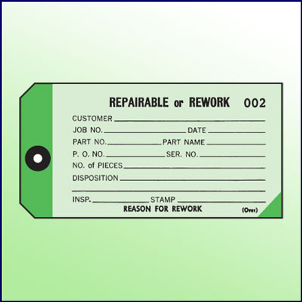 2-Part Repairable/Rework Tag