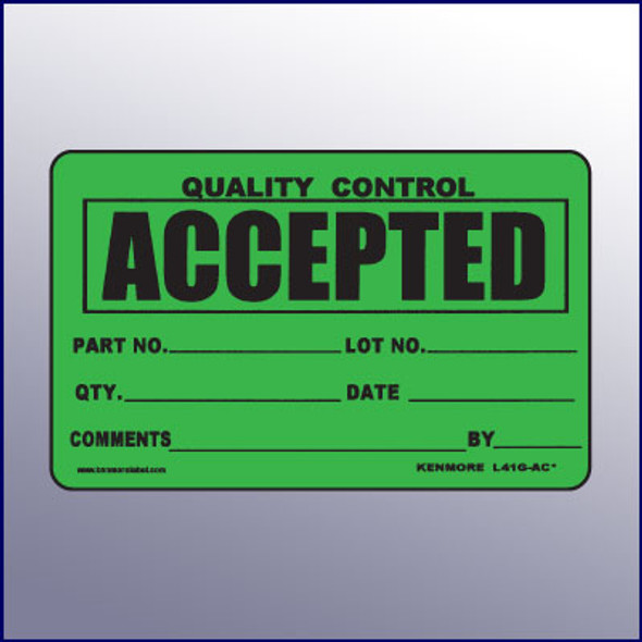 Accepted Quality Control Label 4 x 3