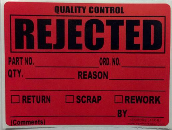 Rejected Quality Assurance Label 4 x 3