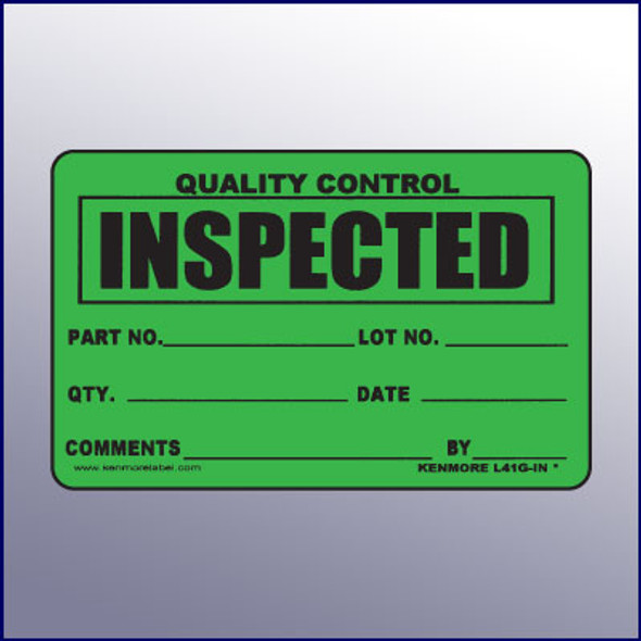 Inspected Quality Control Label 4 x 3