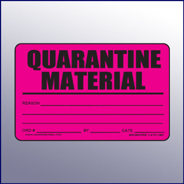 Quarantine Material Quality Assurance Label 4 x 3