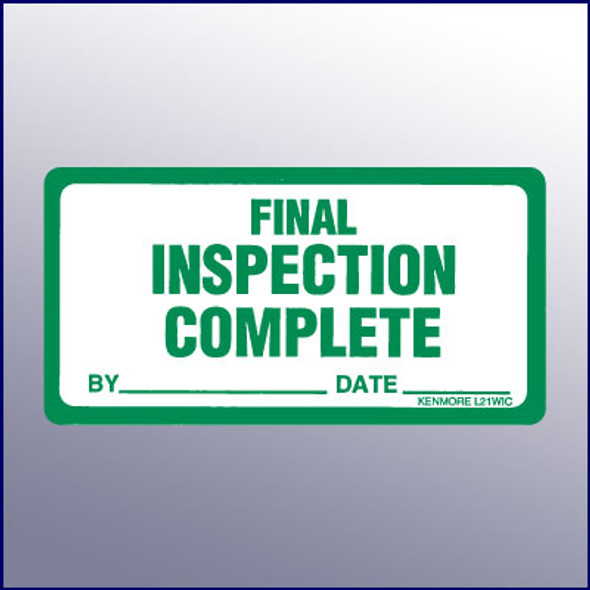 Final Inspection Complete Label 4 x 2