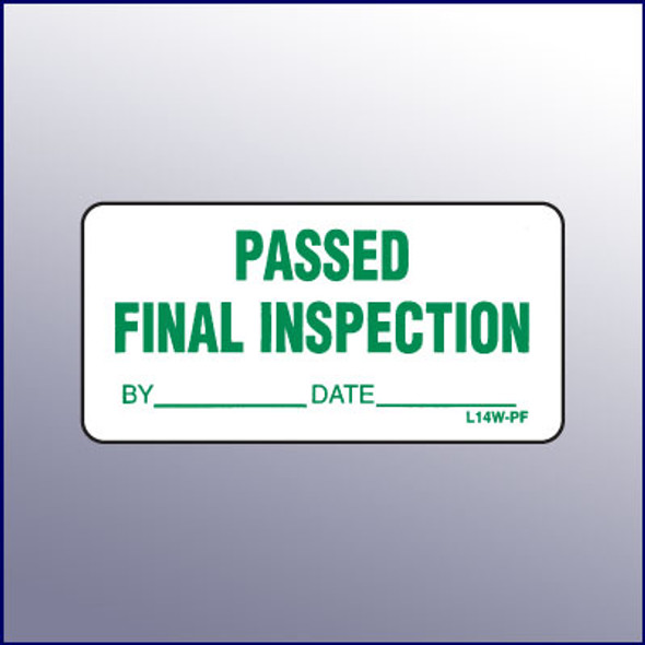 Passed Final Inspection Mini Label 1-1/4 x 2-1/2